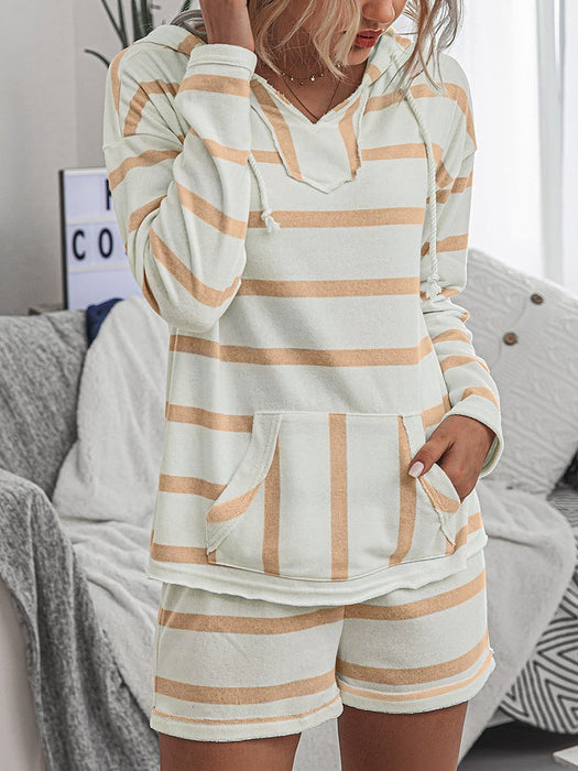 Striped Pocket Front Hoodie Shorts Set