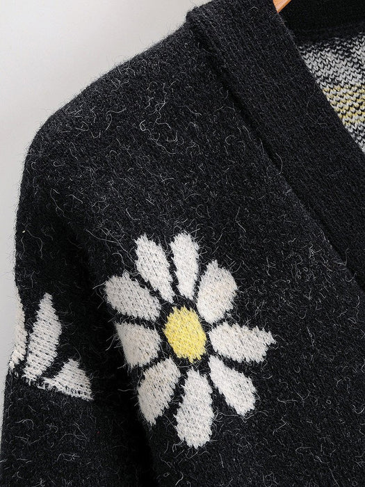 Daisy Floral Jacuard Open Front Sweater Cardigan