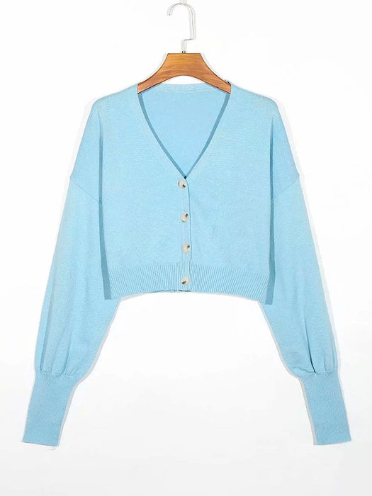 Button Front V-Neck Crop Cardigan