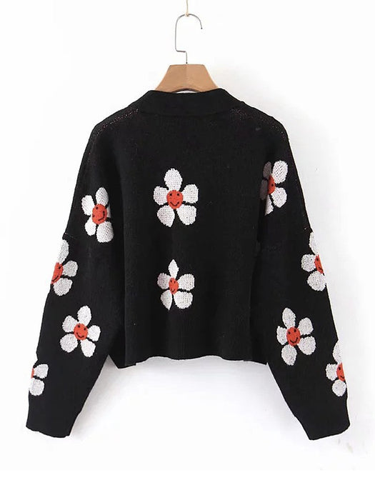 Color Block Floral Knit Sweater Cardigan