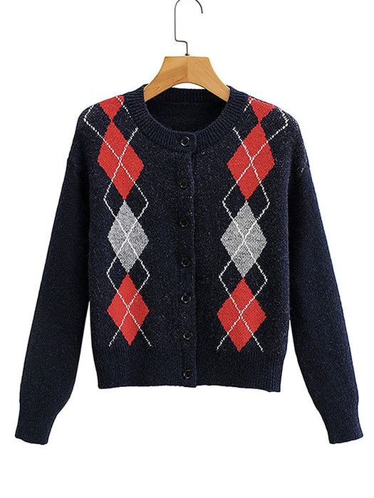 Argyle Pattern Button Front Round Collar Cardigan