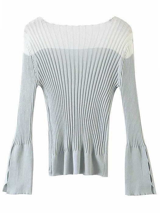 Mesh Color Block Long Sleeve Rib-Knit Cardigan