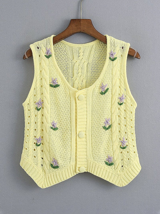 Purple Flower Embroidery Button Front Vest