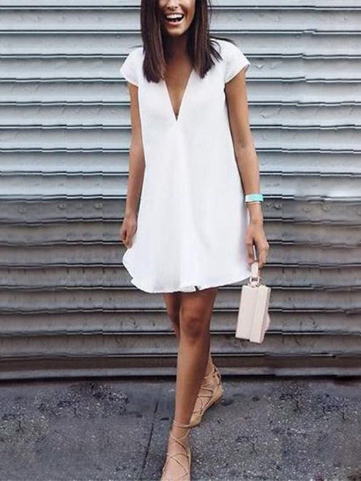 Above Knee V-Neck Short Sleeve Summer Casual Dress