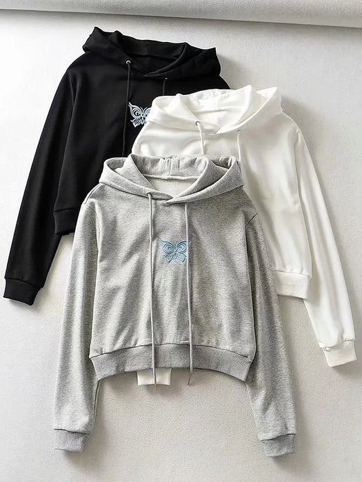 Solid Butterfly Embroidery Hoodie