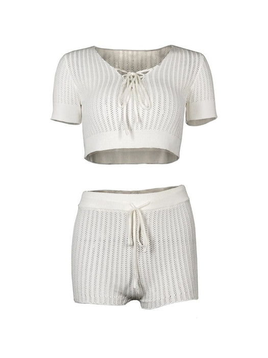 Front Lace Up Hollow Out Knit Shorts Set