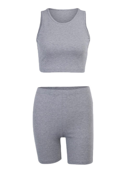 Solid Ribbed Tank Top and Biker Shorts Set