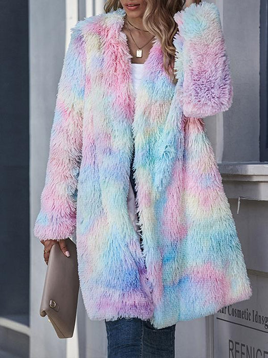 Tie-Dye Color Long Plush Lapel Cardigan Coat