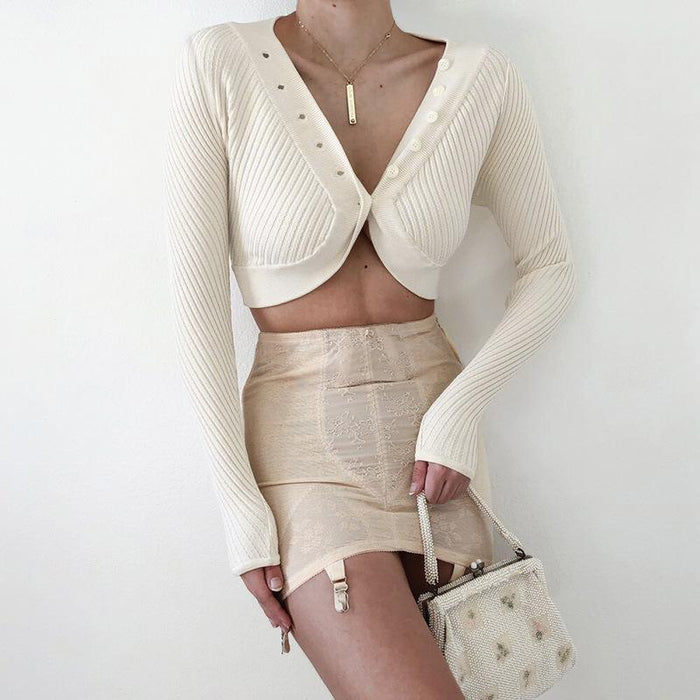 Sexy crop knit sweater cardigan jacket