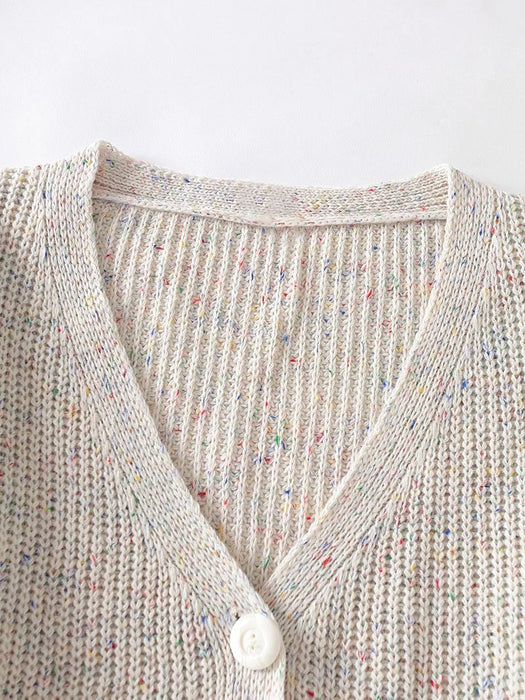 Colorful Yarn V-Neck Knit Cardigan