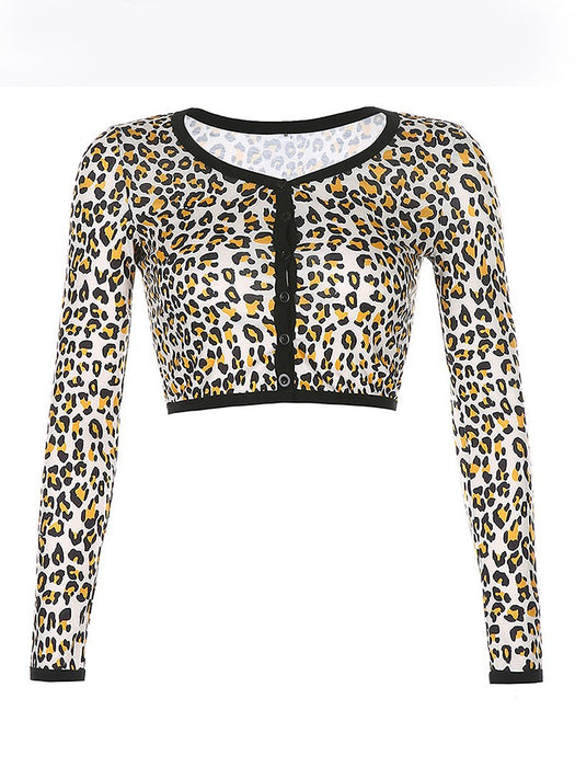 Leopard Print Button Front Crop Top