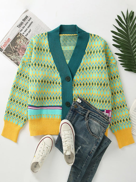 Color Block Stripe Hollow Out Cardigan