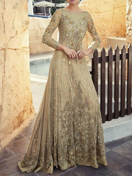 Round Neck Embroidery Floor-Length Pullover Regular Dress