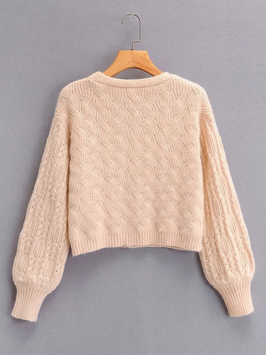 Cable Knit Button Front Solid Cardigan