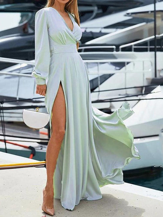Floor-Length Split V-Neck Spring Plain Dress