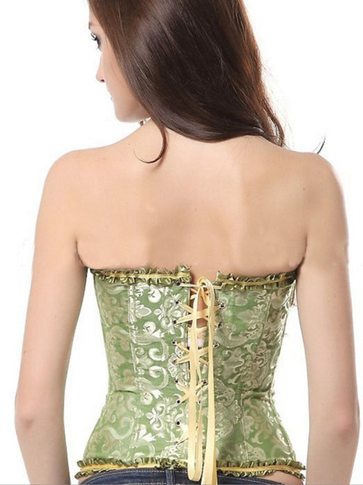 Jacquard Satin Ruffle Detail Body Shaping Corset