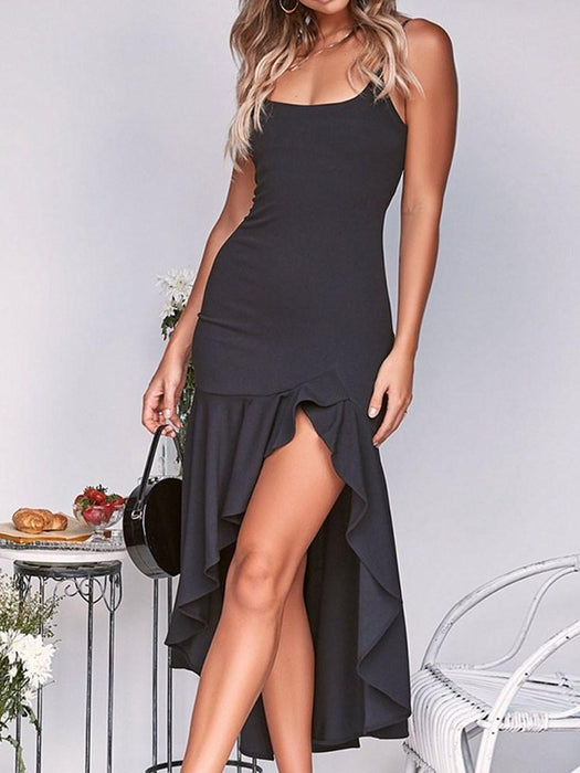 Mid-Calf Sleeveless Falbala Party/Cocktail Pullover Dress