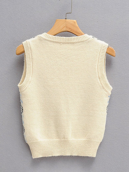 Snow Pattern U-Neck Sweater Vest