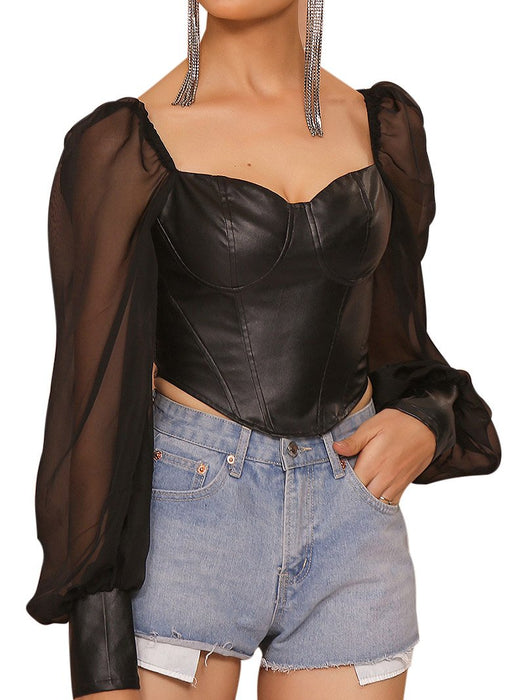Mesh Lantern Sleeve PU Crop  Corset Top