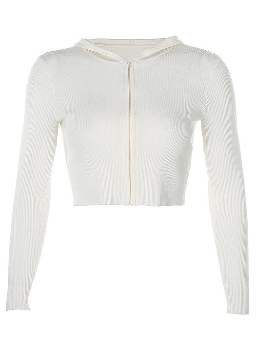 Zip Placket Hooded Rib-Knit Crop Cardigan