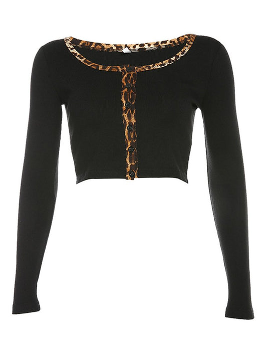Leopard Trim Rib-Knit Button Front Crop Cardigans