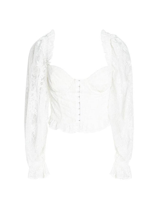 Front Buckle Lace Ruffle Crop Top Blouse