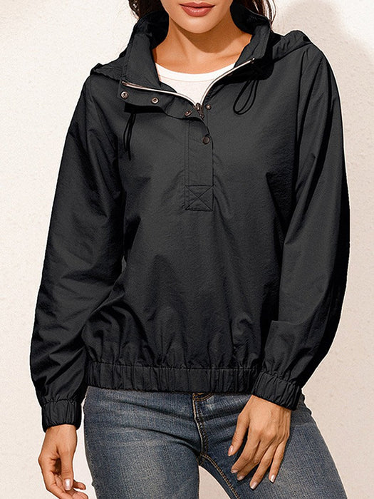 Zip Half Placket Elastic Hem Waterproof Hoodie