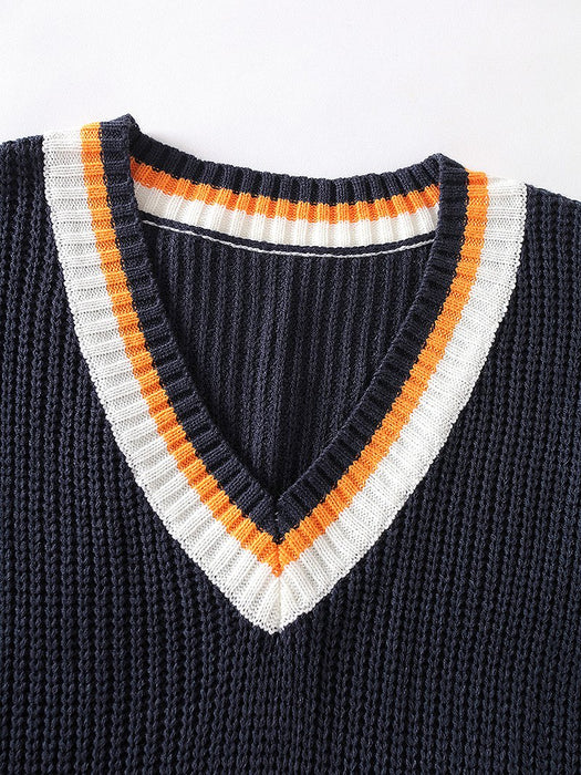 Letter Pattern Striped V-Neck Sweater Vest