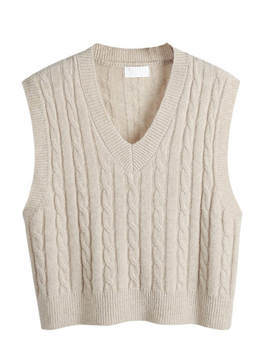 Twist Knit Solid Sweater Vest