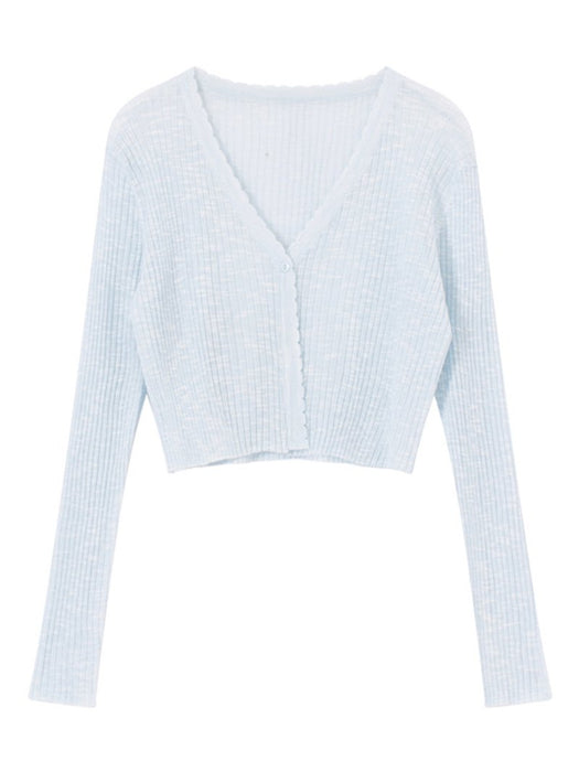 Ribbed Wave Edge Knit Cardigan