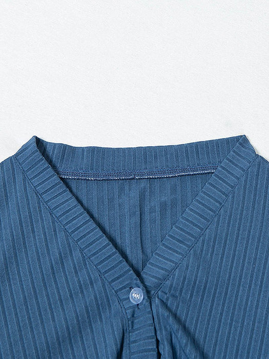 Solid Rib-Knit Button Front Cardigan