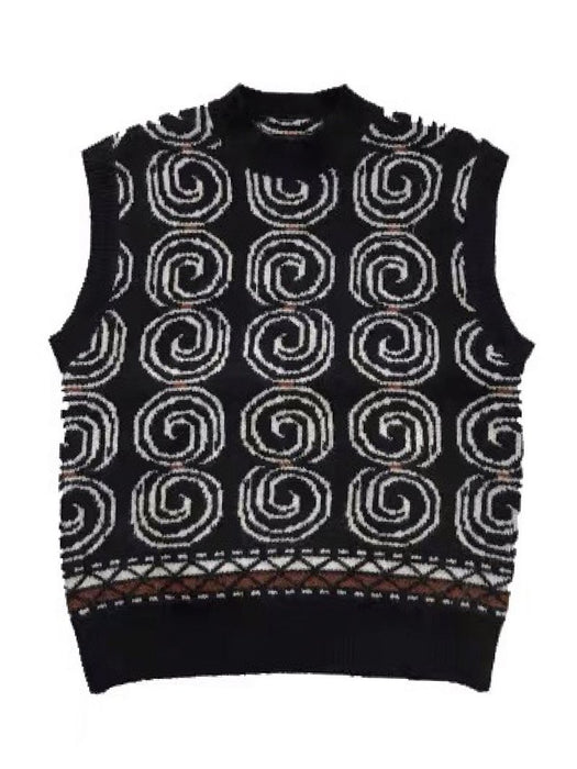 Snail Pattern Round Collar Sweater Vest