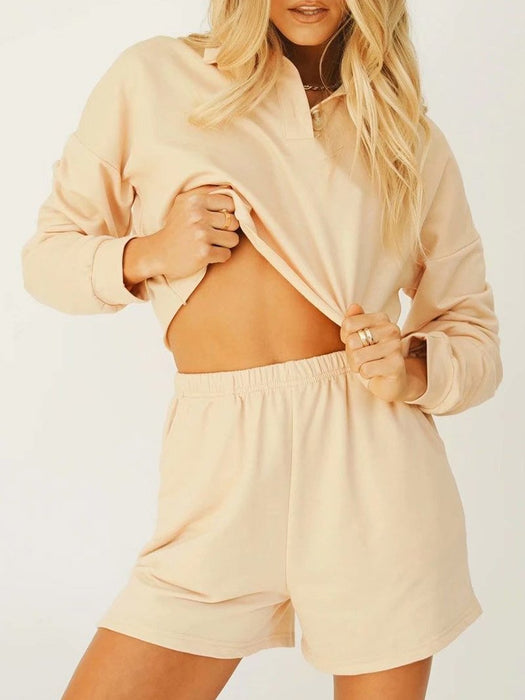 Polo Neck Loose Cropped Top and Shorts Set