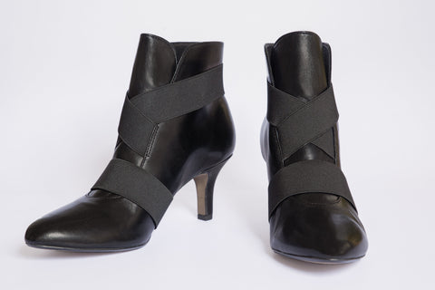 SW19005 Elastic Straps Leather Ankle Boots R200 off - Sam Star Shoes