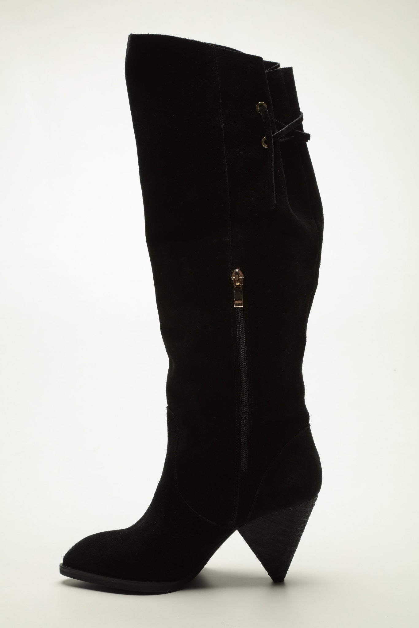 SW18005 knee high black suede boots up to 30% off - Sam Star Shoes