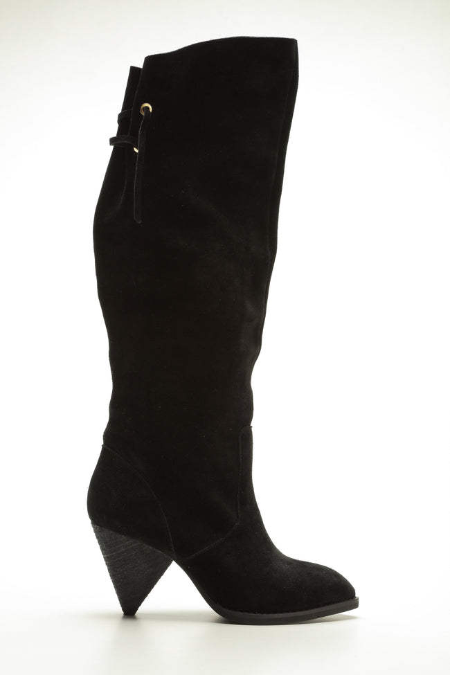 SW18005 knee high black suede boots