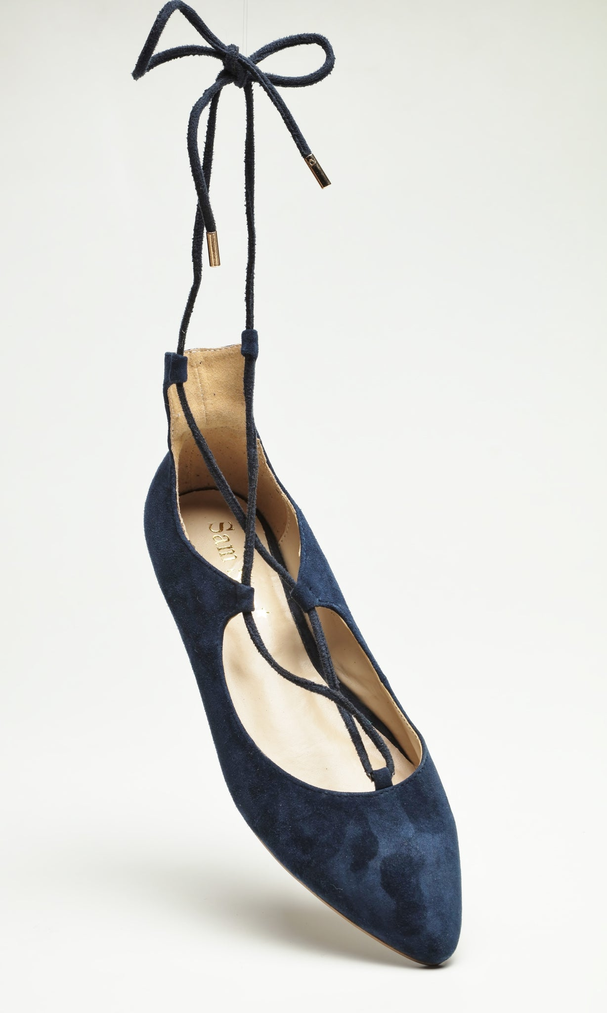 SW16001 Navy lace up leather flat shoes - Sam Star Shoes