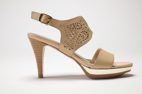 SS17001 Laser cut Leather Sandals in tan and black 20% off - Sam Star shoes