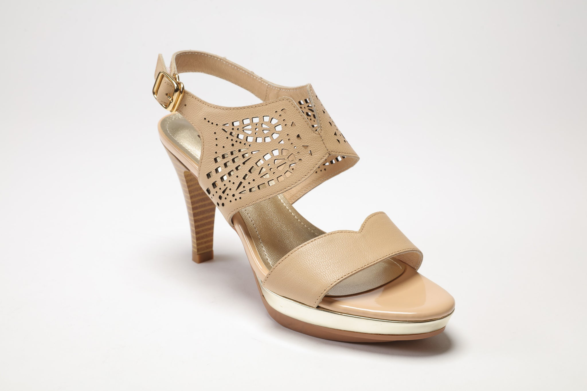 SS17001 Laser cut Leather Sandals in tan and black up to 40% off - Sam Star shoes