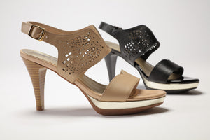 SS17001 Laser cut Leather Sandals in tan and black - Sam Star shoes