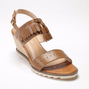 SS17004 Leather wedge with rubber sole and tassel detail up to 50% off - Sam Star shoes