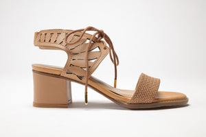 SS17003 Leather laser cut block heel sandals in Brown and Cream - Sam Star shoes