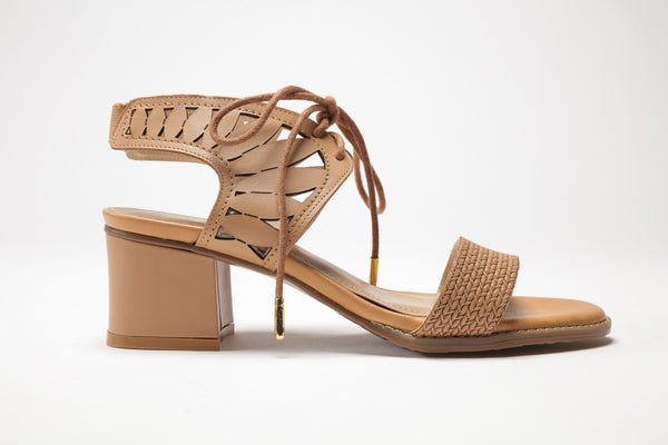 SS17003 Laser cut block heel sandals in Brown and Cream - Sam Star shoes