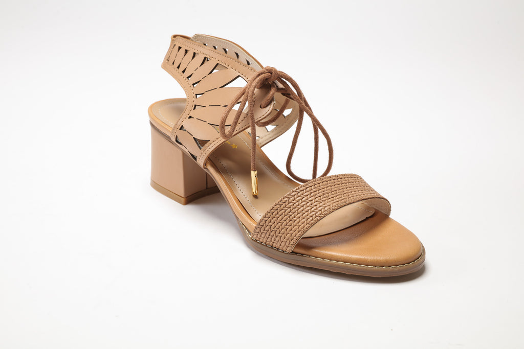 09143b9a6df ... SS17003 Leather laser cut block heel sandals in Brown and Cream 30% off  - Sam ...
