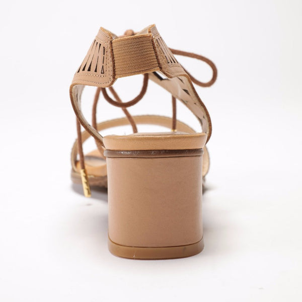 SS17003 Leather laser cut block heel sandals R500 off - Sam Star shoes