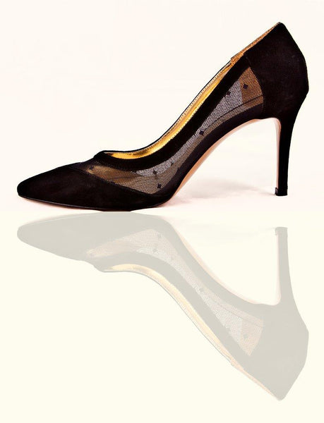 SS20002 Classic Black Suede & Lace Court shoes - 20% off - Sam Star shoes