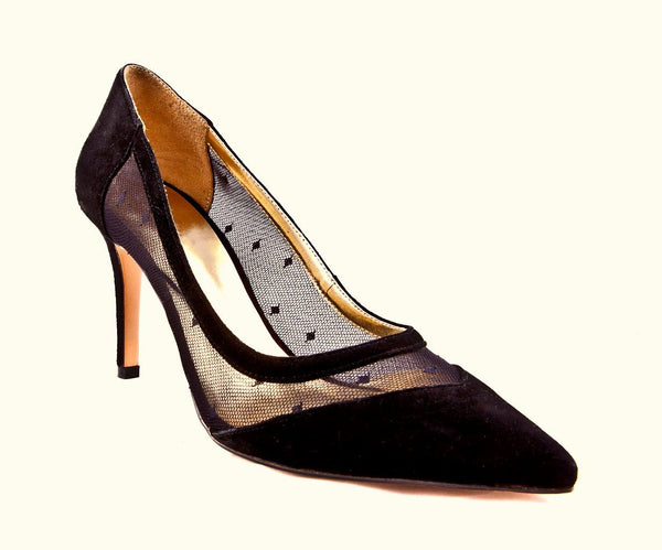 SS20002 Classic Black Suede & Lace Court shoes 30% off - Sam Star shoes