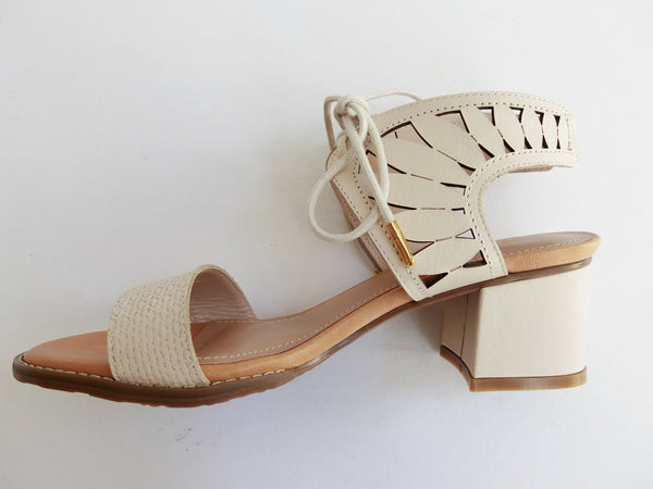 SS17003 Leather laser cut block heel sandals up to 50% off - Sam Star shoes