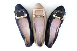 12W02 Pointy Buckle pumps with extra cushions - Sam Star shoes