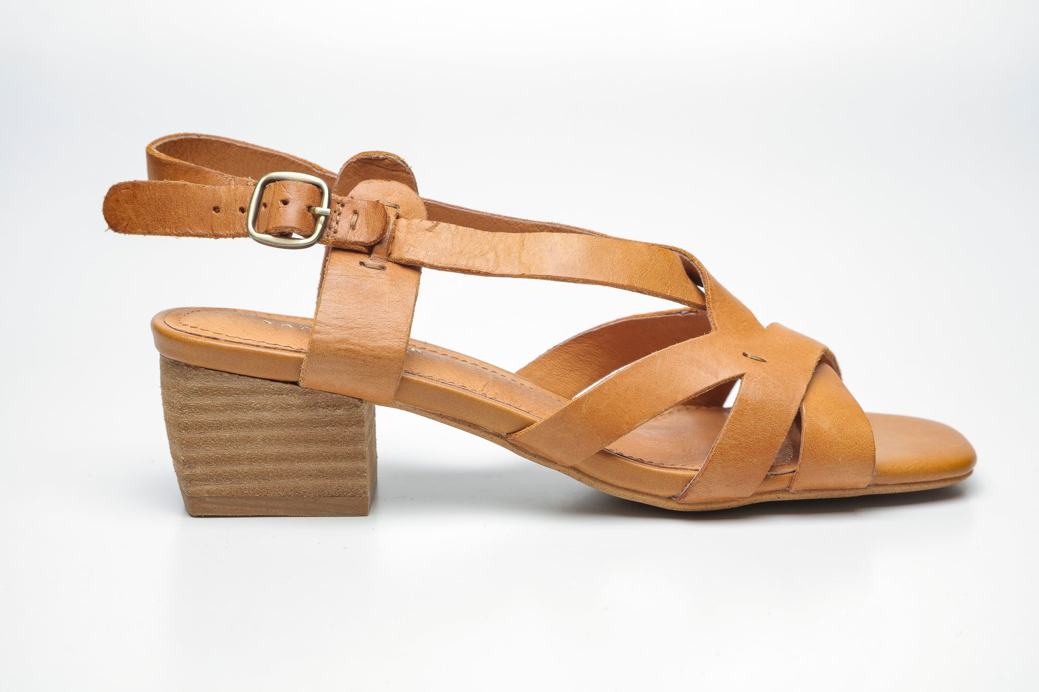 SS19002 Leather Criss Cross Block Heel Sandal up to 30% off - Sam Star shoes